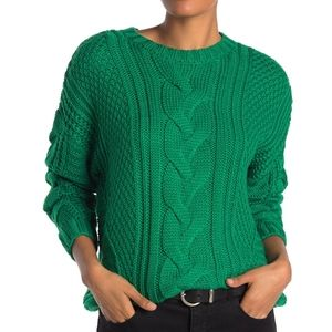 One A Mixed Knit Crewneck Sweater Green Chunky NEW